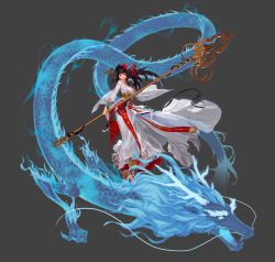 artist_request dragon dungeon_and_fighter eastern_dragon female_priest_(dungeon_and_fighter) highres official_art shaman_(dungeon_and_fighter) staff tagme