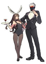 1boy 1girl absurdres adjusting_bow alcohol animal_ears bare_shoulders belda34 black_bow black_bowtie black_jacket black_leotard black_pants black_shoes bow bowtie breasts bunny_ears bunny_girl covered_mouth cup d.va_(overwatch) detached_collar dress_shirt drinking_glass face_mask facepaint facial_mark fake_animal_ears fishnet_pantyhose fishnets formal glass gloves hand_on_hip highres holding holding_plate jacket leotard long_sleeves looking_at_viewer mask medium_breasts overwatch pants pantyhose pink_lips plate scar scar_across_eye shirt shoes short_hair simple_background soldier:_76_(overwatch) standing strapless strapless_leotard suit visor whisker_markings white_background white_gloves white_hair white_shirt wine wine_glass