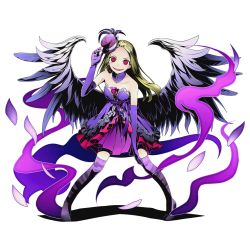 1girl bare_shoulders blonde_hair collarbone divine_gate dress elbow_gloves feathered_wings floating_hair full_body gloves grey_wings hat long_hair looking_at_viewer mini_hat official_art open_mouth purple_gloves purple_legwear red_eyes sleeveless sleeveless_dress solo standing strapless strapless_dress thighhighs transparent_background ucmm wings