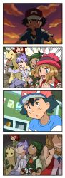 10s 2boys 3girls 4koma bayleef comic emphasis_lines gaijin_4koma hat heart highres indoors kanon_(pokemon) lila_(pokemon) multiple_boys multiple_girls nezu_(pixiv_1410807) notebook outdoors parody pokemon pokemon_(anime) pokemon_(creature) pokemon_sm pokemon_xy satoshi_(pokemon) serena_(pokemon) shota_(pokemon) silent_comic sky sparkle sunset upper_body