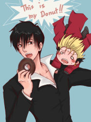 2boys black_eyes black_hair blonde_hair blush_stickers boots chibi coat doughnut earrings english food formal gloves holding jewelry long_coat multiple_boys nicholas_d_wolfwood open_collar open_mouth red_coat short_hair spiked_hair suit sweatdrop text trigun vash_the_stampede