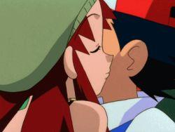 2boys 2girls animated animated_gif cheek_kiss fleura_(pokemon) kasumi_(pokemon) kenji_(pokemon) kiss lowres multiple_boys multiple_girls nintendo pokemon satoshi_(pokemon) togepi