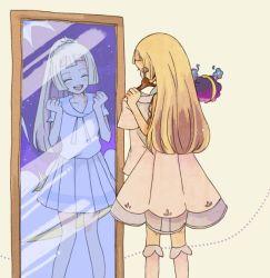 1girl blonde_hair boots cosmog eyes_closed hanger lillie_(pokemon) long_hair mirror night pokemon pokemon_(creature) pokemon_(game) pokemon_sm ponytail shirt skirt sky smile spoilers star