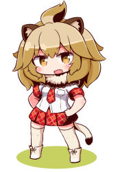 1girl :d animal_ears ankle_boots blush boots brown_hair cat_ears cat_tail chibi collar eyebrows_visible_through_hair eyelashes fang full_body fur_collar half_updo hands_on_hips kemono_friends light_brown_eyes lion_(kemono_friends) lion_ears lion_tail long_hair looking_at_viewer naga_u necktie open_mouth plaid plaid_necktie plaid_skirt pocket ribbon sanpaku shadow shirt shoe_ribbon short_sleeves simple_background skirt smile socks solo standing tail thighhighs white_background white_shirt zettai_ryouiki