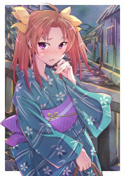 1girl alternate_costume blush brown_hair e20 hair_ribbon japanese_clothes kagerou_(kantai_collection) kantai_collection kimono purple_eyes ribbon solo twintails yukata