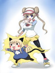 2girls ahoge animal_ears animalization blonde_hair blush cat cat_ears cosplay double_bun glasses kaneko_(novram58) long_hair lynette_bishop mei_(pokemon) mei_(pokemon)_(cosplay) military military_uniform multiple_girls pantyhose parody perrine_h_clostermann pikachu pokemon shoes short_hair smile sneakers strike_witches tagme tail twintails uniform