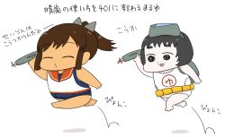 2girls backpack bag chibi comic gaiko_kujin goggles goggles_on_head hopping i-401_(kantai_collection) kantai_collection maru-yu_(kantai_collection) multiple_girls sailor_collar school_swimsuit short_ponytail simple_background swimsuit swimsuit_under_clothes tan translation_request