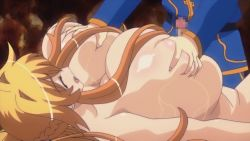 animated animated_gif anrietta_(buta_no_gotoki) areolae blue_eyes blush breast_grab breast_press breast_squeeze breasts buta_no_gotoki_sanzoku_ni_torawarete_shojo_o_ubawareru_kyonyuu_himekishi_&_onna_senshi:_zettai_chinpo_nanka_ni_maketari_shinai!!_the_animation censored erect_nipples erectlip gigantic_breasts humiliation lactation nipples nude penis rape sex