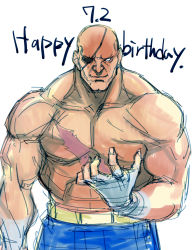 abs bald dated happy_birthday highres muscle no_pupils sagat scar shirtless smile solo street_fighter tetsu_(kimuchi)