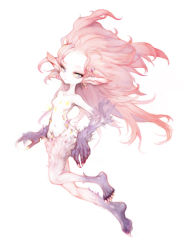 1girl blue_eyes breasts earrings esper female final_fantasy final_fantasy_vi full_body jewelry long_hair monster_girl no_pants nude pink_hair pink_skin pointy_ears simple_background solo tina_branford trance_tina_branford white_background