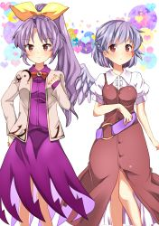 2girls absurdres belt bow chako_(chakoxxx) cosplay costume_switch hair_bow heart highres kishin_sagume kishin_sagume_(cosplay) long_hair multiple_girls pigeon-toed ponytail purple_hair red_eyes silver_hair single_wing touhou watatsuki_no_yorihime watatsuki_no_yorihime_(cosplay) wings
