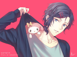 1boy artist_name beauty_mark blue_eyes blue_hair bunny callarinc clothes_pull collarbone hairclip looking_at_viewer low_ponytail male_focus mizuno_yuu mole mole_under_eye my_melody parted_lips pink_background ponytail ribbon sanrio sanrio_danshi simple_background