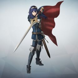 1girl belt blue_eyes blue_hair boots cape falchion_(fire_emblem) fingerless_gloves fire_emblem fire_emblem:_kakusei fire_emblem_musou full_body gloves gradient gradient_background highres holding holding_weapon jewelry long_hair long_sleeves lucina official_art sheath simple_background solo sword thigh_boots thighhighs tiara weapon