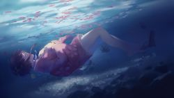 1girl brown_hair bubble dark dutch_angle eyes_closed floating_hair floral_print flower from_side full_body hands_on_own_chest japanese_clothes kimono koutetsujou_no_kabaneri mumei_(kabaneri) petals pink_kimono profile sandals_removed short_hair sinking solo spencer_sais submerged sunlight underwater water wide_sleeves yukata