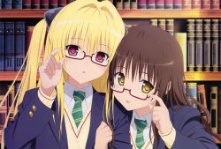 2girls :p absurdres bespectacled blazer blonde_hair book bookshelf brown_hair cardigan closed_mouth glasses green_necktie hair_intakes head_tilt highres huge_filesize jacket konjiki_no_yami locked_arms long_hair long_sleeves looking_at_viewer multiple_girls necktie official_art open_blazer open_clothes open_jacket pink_eyes red-framed_eyewear scan school_uniform semi-rimless_glasses smile striped striped_necktie to_love-ru tongue tongue_out triangle_mouth two_side_up under-rim_glasses upper_body yabuki_kentarou yellow_eyes yuuki_mikan