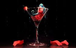 1girl aqua_eyes aqua_hair armpits cherry cup dress food fruit hatsune_miku highres in_food liu_guniang long_hair minigirl open_mouth petals red_dress solo twintails very_long_hair vocaloid wine_glass