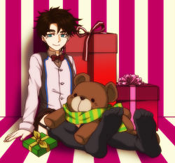 1boy bad_boy blue_eyes brown_hair child gift jojo_no_kimyou_na_bouken joseph_joestar_(young) male scarf solo stuffed_animal stuffed_toy teddy_bear thighhighs younger