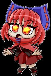 1girl :o animated animated_gif blue_bow bow cape chibi commentary daniel_renard dress hair_bow high_collar open_mouth pleated_skirt red_dress red_eyes red_hair seamless_loop sekibanki skirt solo spinning star star-shaped_pupils symbol-shaped_pupils torn_clothes transparent_background
