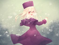 1girl capelet coat fate/stay_night fate_(series) hat illyasviel_von_einzbern long_hair red_eyes snowing solo white_hair ym_(snovee)