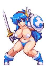 1girl animated animated_gif armor bikini_bottom blue_eyes blue_hair boots bouncing_breasts breasts fighting_stance gloves hairband huge_breasts long_hair lowres navel original pasties pixel_art sb sb_(coco1) shield solo sword tecna topless warrior weapon