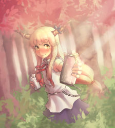 1girl belt blush chains dutch_angle full-face_blush horn_ribbon horns ibuki_suika layered_dress long_hair looking_at_viewer low-tied_long_hair mascot_(4chan) nature orange_eyes orange_hair pointy_ears ribbon sleeveless smile solo sunlight touhou tree