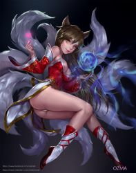 1girl ahri animal_ears artist_name artstation_username ass bangs bare_shoulders breasts brown_hair cleavage closed_mouth detached_sleeves dress eyelashes facebook_username fingernails fox_ears fox_tail glowing groin hair_between_eyes hand_up heart highres large_breasts league_of_legends light_smile long_fingernails long_hair long_sleeves magic medium_breasts microdress midair multiple_tails nail_polish nose orb ozma panties pink_lips pink_nails red_dress red_shoes shoes smile solo strapless strapless_dress tail underwear very_long_hair watermark web_address whisker_markings white_legwear white_panties yellow_eyes