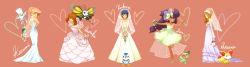 5girls alternate_costume axew bare_shoulders beautifly bouquet bridal_veil character_name dress elbow_gloves fennekin flower gloves haruka_(pokemon) heart highres hikari_(pokemon) iris_(pokemon) kasumi_(pokemon) looking_at_viewer multiple_girls piplup pokemon pokemon_(anime) raku_(rairaku345) serena_(pokemon) smile togetic veil wedding_dress white_gloves