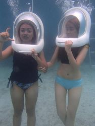 2girls asian bikini bubble mask multiple_girls photo swimsuit underwater
