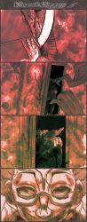 4koma alessi comic crazy_smile door doorknob glasses graphite_(medium) greyscale highres jojo_no_kimyou_na_bouken kakyouin_noriaki mixed_media monochrome motion_lines open_mouth pov red semi-rimless_glasses smile traditional_media under-rim_glasses utano