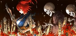 1girl breasts closed_mouth flower from_side hair_bobbles hair_ornament highres kan_(aaaaari35) large_breasts looking_away onozuka_komachi profile puffy_short_sleeves puffy_sleeves red_eyes red_hair serious shaded_face short_hair short_sleeves skeleton solo spider_lily touhou translation_request upper_body