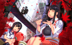 4girls akagi_(kantai_collection) black_eyes black_hair bridge dutch_angle eating eyes_closed fan fubuki_(kantai_collection) highres japanese_clothes kantai_collection kitakami_(kantai_collection) leaf long_hair misumi_(niku-kyu) multiple_girls muneate ooi_(kantai_collection) scenery school_uniform serafuku