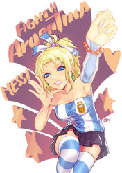 1girl 2014_fifa_world_cup 7h2o argentina blonde_hair blue_eyes bracelet earrings english final_fantasy final_fantasy_vi grin heart jewelry makeup mascara miniskirt nail_polish ponytail pun shirt skirt smile soccer_uniform solo sportswear star striped striped_legwear striped_shirt tank_top thighhighs tina_branford world_cup zettai_ryouiki