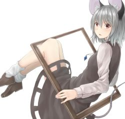 1girl animal_ears bangs bent_knees black_shoes black_skirt black_vest blush bobby_socks breasts brown_eyes frame from_side grey_hair hair_between_eyes highres jewelry legs_together long_sleeves looking_at_viewer looking_to_the_side mouse_ears mouse_tail nazrin netamaru parted_lips pendant shoes skirt small_breasts socks solo tail touhou vest white_legwear