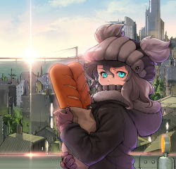 1girl alternate_costume aqua_eyes bag baguette bread bridge casual food freckles gloves grey_hair hat hooded_jacket kantai_collection looking_at_viewer meiz paper_bag solo sunrise wo-class_aircraft_carrier