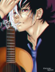 1boy artist_request black_hair black_jack_(character) black_jack_(series) guitar instrument looking_at_viewer male_focus multicolored_hair necktie red_eyes scar short_hair smoking solo white_hair