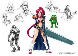 1girl batman batman_(series) berserk bikini_top boots boy's_club breasts cape cleavage collage darren_geers flame_print guts guts_(cosplay) hair_ornament hair_stick high_ponytail huge_weapon long_hair mechanical_arm mismatched_gloves one-eyed pepe_the_frog scar scar_across_eye scarf short_shorts shorts solo_focus sword tengen_toppa_gurren_lagann very_long_hair watermark weapon web_address yellow_eyes yoko_littner