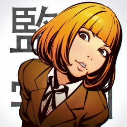 1girl bangs blazer blunt_bangs bob_cut bust copyright_name face head_tilt ilya_kuvshinov kangoku_gakuen lips midorikawa_hana orange_hair parted_lips school_uniform solo