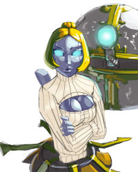 1girl aka6 bangs blonde_hair blue_eyes bob_cut breasts cleavage cleavage_cutout crossed_arms glowing glowing_eyes grey_skin hair_bun league_of_legends lips no_pupils nose open-chest_sweater orianna_reveck parted_bangs ribbed_sweater robot robot_girl short_hair solo sweater turtleneck