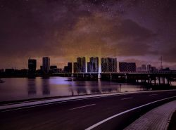 bridge building cityscape cloud night night_sky reflection river road road_sign scenery sign sky star_(sky) starry_sky weifang_shandong