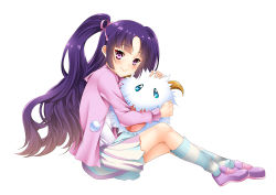 league_of_legends long_hair pink_eyes poro purple_hair raspdere sitting un4lord