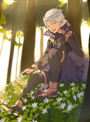 1boy ^_^ ai-wa bridal_gauntlets cape eyes_closed fire_emblem fire_emblem:_kakusei flower grass head_wreath henry_(fire_emblem) highres male_focus open_mouth sitting smile tree white_hair