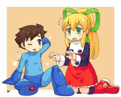 1boy 1girl android arm_behind_head blonde_hair blue_eyes blush bolt boots brother_and_sister brown_hair buttons dress frills green_eyes hair_ribbon kneeling long_hair long_sleeves mizuno_mumomo one_eye_closed payot ponytail puffy_long_sleeves puffy_sleeves ribbon rockman rockman_(character) rockman_(classic) roll siblings torn_clothes