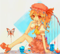 1girl ascot blonde_hair blood blood_on_face blood_on_fingers blue_background bow bowl butterfly_print collared_shirt dead_line flandre_scarlet flower grey_background hat hat_bow highres knife long_legs looking_at_viewer looking_to_the_side mob_cap pink_shoes pink_skirt puffy_short_sleeves puffy_sleeves pumps red_eyes shirt short_sleeves side_ponytail single_wing sitting skirt skull smile spoon square touhou two-tone_background vest wings
