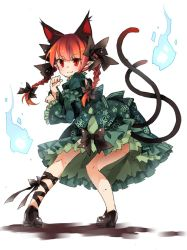 1girl adapted_costume alternate_costume animal_ears back bow braid cat_ears cat_tail dress floral_print frills full_body green_dress hair_bow hair_ornament highres hitodama kaenbyou_rin leg_ribbon long_hair long_sleeves looking_at_viewer looking_back mary_janes multiple_tails pointy_ears puffy_sleeves red_eyes red_hair shoes simple_background smile solo tail touhou toutenkou twin_braids white_background wide_sleeves