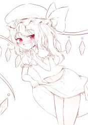 1girl absurdres blush fang flandre_scarlet hanen_(borry) hat highres leaning_forward long_hair midriff monochrome naughty_face navel open_mouth red_eyes shirt side_ponytail sketch skirt skirt_lift smile solo spot_color touhou wings