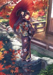1girl absurdres autumn autumn_leaves blue_eyes bridge brown_hair clog_sandals floral_print flower from_behind geta hair_flower hair_ornament highres hiiro_yuki japanese_clothes kimono leaf lips long_hair looking_at_viewer looking_back maple_leaf obi open_mouth oriental_umbrella original payot pond ponytail reflection ribbon rock sandals sash scan solo tabi tree umbrella veranda water