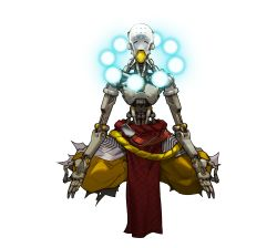 1boy absurdres alpha_transparency android artist_request highres indian_style male_focus mudra official_art overwatch shirtless simple_background sitting solo transparent_background vitarka_mudra zenyatta_(overwatch)