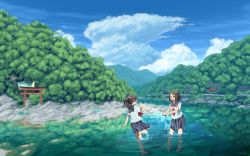 2girls barefoot blurry blush brown_eyes cloud depth_of_field eyes_closed fox hand_up highres house kitsune laughing long_hair looking_at_another mountain multiple_girls open_mouth original playing ponytail reflection river rock rope scenery school_uniform see-through_silhouette serafuku shide shimenawa short_hair shrine sky smile splashing standing standing_on_one_leg syego torii tree twitter_username wading water wet wet_clothes