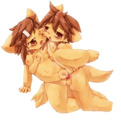 1boy 1girl artist_request brother_and_sister brown_eyes brown_hair censored furry incest one_eye_closed open_mouth penis sex tounge twints vagina