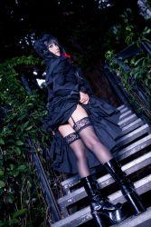 1girl boots cosplay date_a_live dress dress_lift gothic_lolita high_heel_boots high_heels lolita_fashion long_hair photo skirt_lift thighhighs tokisaki_kurumi